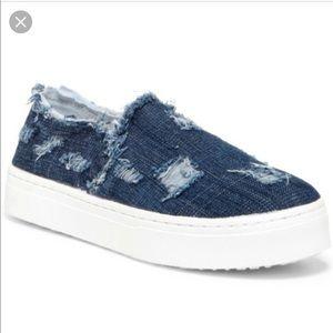 Sam Edelman Denim Distressed Slip On Shoes